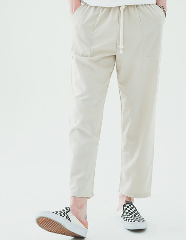 Fatigue linen banding pants(beige)