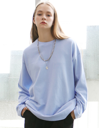 PASTEL LONG SLEEVE T-SHIRTS(skyblue)