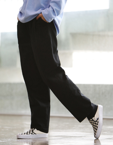 WIDE COTTON PANTS(black)